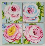 4 Ceramic Coasters in Clarke and Clarke English Rose Seafoam